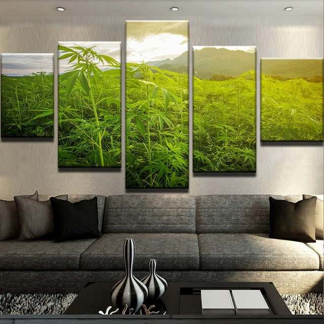 Canvas Wall Art Pictures For Living Room Home Decor 5 Pieces For The Wild Weed Fields Paintings HD Prints Leaf Poster Framework