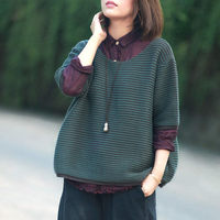 New Art Leisure Loose Large Size Women's Striped Sweater Round Neck Pullover Half Sleeve Shirt Autumn New Style Knit Blusa f1084