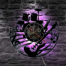 1 ชิ้นRockเพลงกีต้าร์และกลองชุดVinyl Record Wall Clockโมเดิร์นโคมไฟเครื่องดนตรีLED Night Lightกีตาร์ของขวัญ