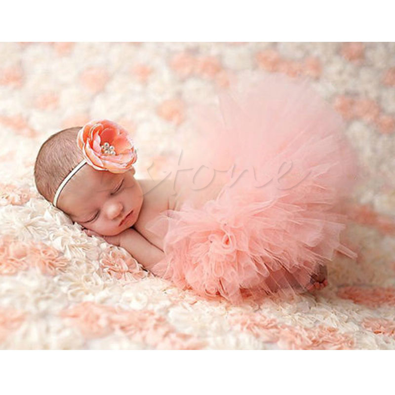 Baby Skirt Puff Skirt Cute Toddler Newborn Baby Girl Tutu Skirt   Headband  Photo Prop Costume Outfit a3946dce5aa