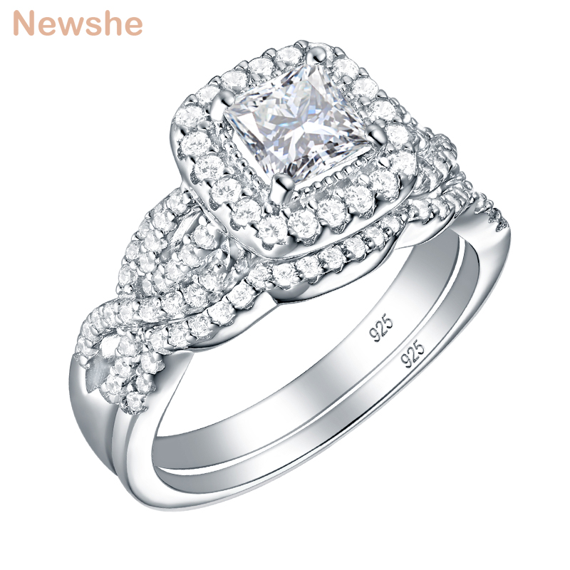 Newshe 2 Pcs 925 Sterling Silver Engagement Ring Wedding Band For Women Princess Cut White AAA Cubic Zirconia Classic Jewelry-in Rings from Jewelry & Accessories