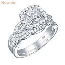 Newshe 2 adet 925 ayar gümüş nişan yüzüğü düğün Band kadınlar prenses kesim beyaz AAA kübik zirkon klasik takı