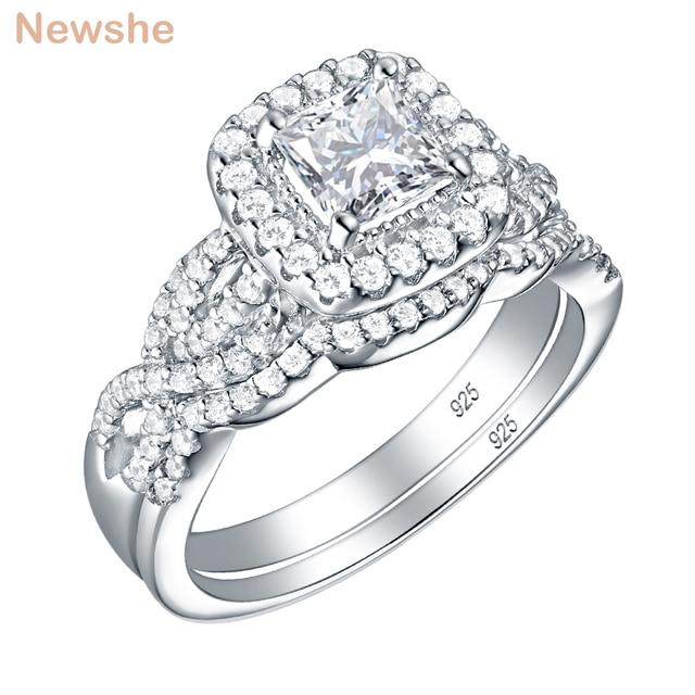 Newshe 2 pçs 925 prata esterlina anel de noivado casamento banda para as mulheres princesa corte branco aaa zircônia cúbica clássico jóias