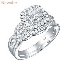Newshe 2 sztuk 925 srebro pierścionek zaręczynowy obrączka dla kobiet księżniczka Cut biały AAA sześcienne cyrkonia klasyczna biżuteria