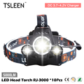 2017 TSLEEN 10Pcs 5000lm cree xml t6+r2 led head torches fishing light bike racing headlight for outdoor activities adventure