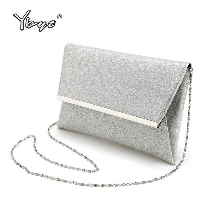 Ybyt marca 2017 nueva moda solapa del sobre de la cadena de lentejuelas de plata