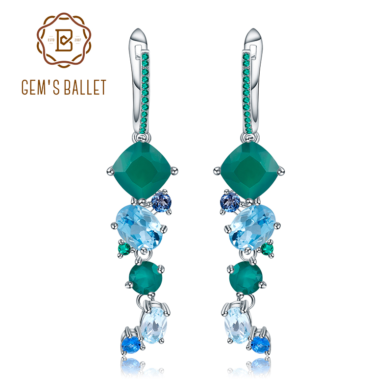 GEM S BALLET 925 Sterling Silver Handmade Modern Irregular Earrings Natural Green Agate Topaz Gemstones Drop