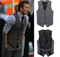 European style Men's fashion Suit Vest Business Slim gentleman waiters Vest Men Suits Blazer Gray Vest Suit For Men