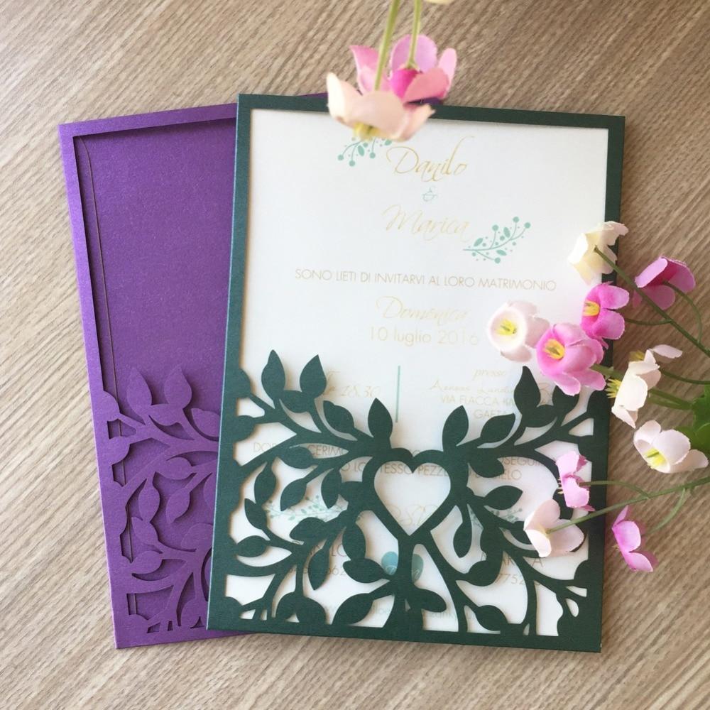 Wedding Invitations Laser Cut Paper: 50pcs/lot Multi Color Glossy Paper Wedding Invitations