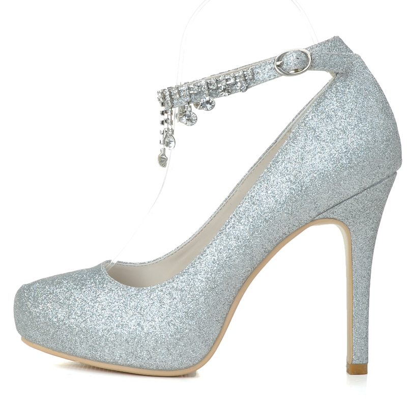 Creativesugar lady rhinestone ankle strap glitter gold silver platform high  heels party prom cocktail rounded closed toe shoes-in Women s Pumps from  Shoes ... 07cbfa3795c4