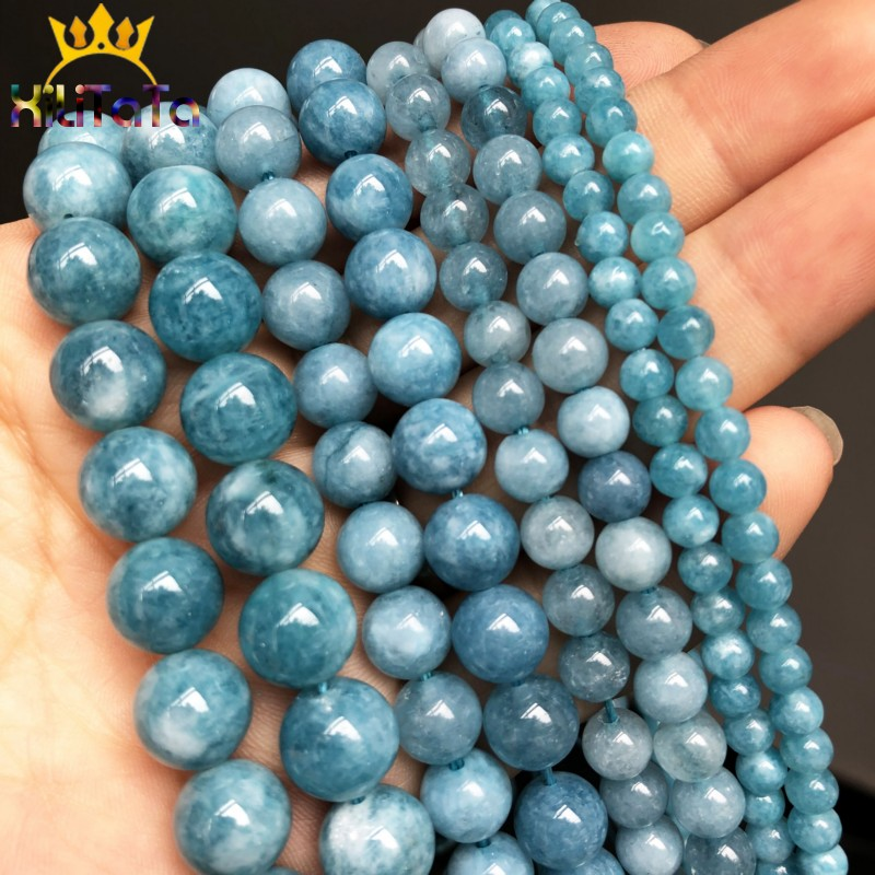 Natural Stone Dark Blue Chalcedony Jades Beads Round Loose Spacer Beads For Jewelry Making 4/6/8/10/12mm DIY Handmade Bracelets(China)