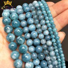 Calcédony Jades pierre naturelle, de 4/6/8/10/12mm, bleu foncé, perles rondes espacées, pour la fabrication de bijoux, bracelets, bricolage faits à la main