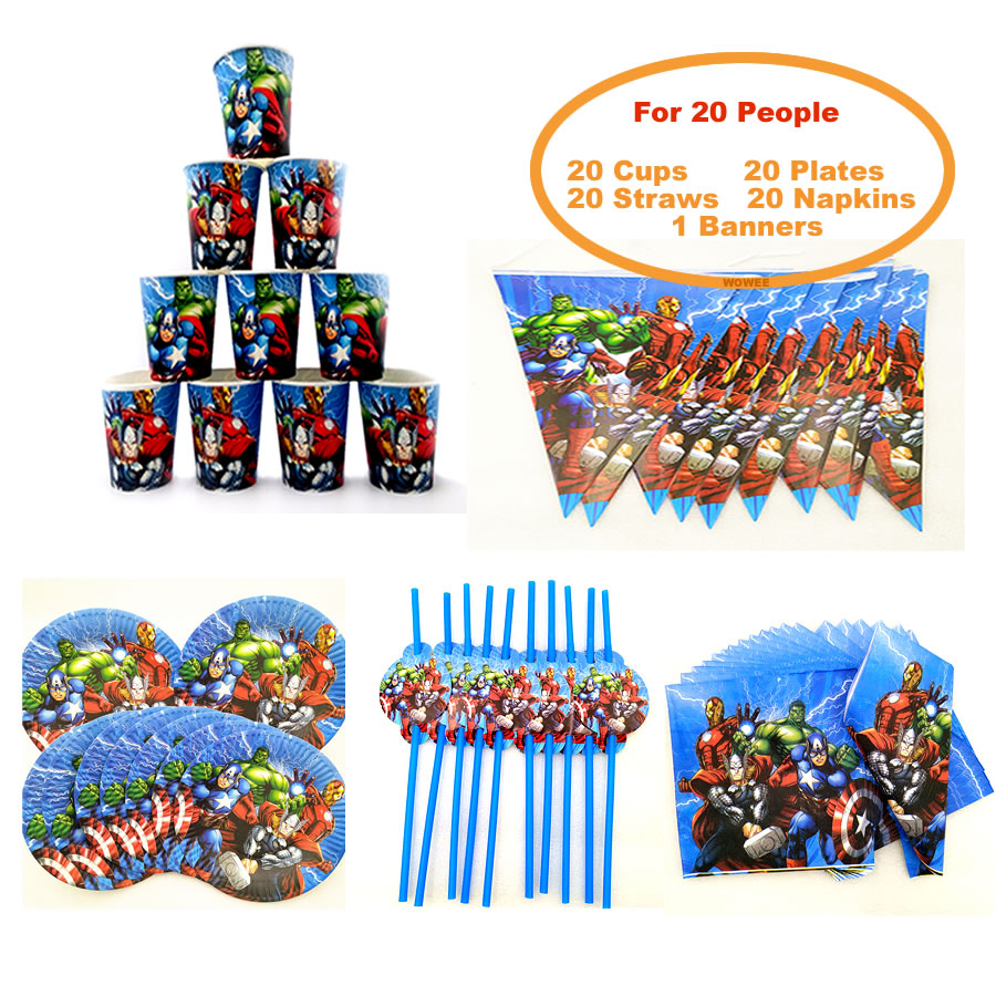 For 20 people baby boy adult birthday party supplies the Avengers party decoration sets paper garland cups baby shower supplies in Disposable Party Tableware from Home Garden