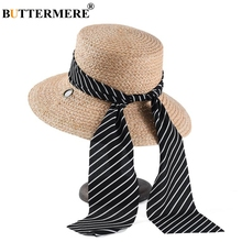 BUTTERMERE Sun Hat High Fashion Boater Straw Hats For Women Summer Beach Self Tie Wide Brim Raffia Brand Ladies
