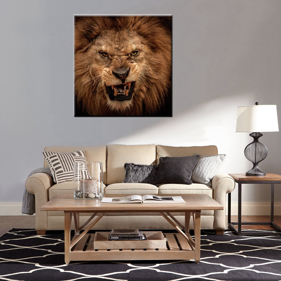 Gift Angry Lion Head Cool Wall Art Decorations High Quality Picture Prints On Canvas Waterproof Fashion