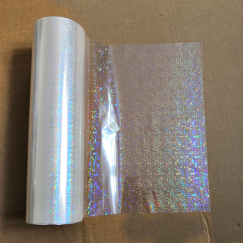 Holographic foil transparent broken flowers  pattern stamping foil hot press on paper or plastic transfer film