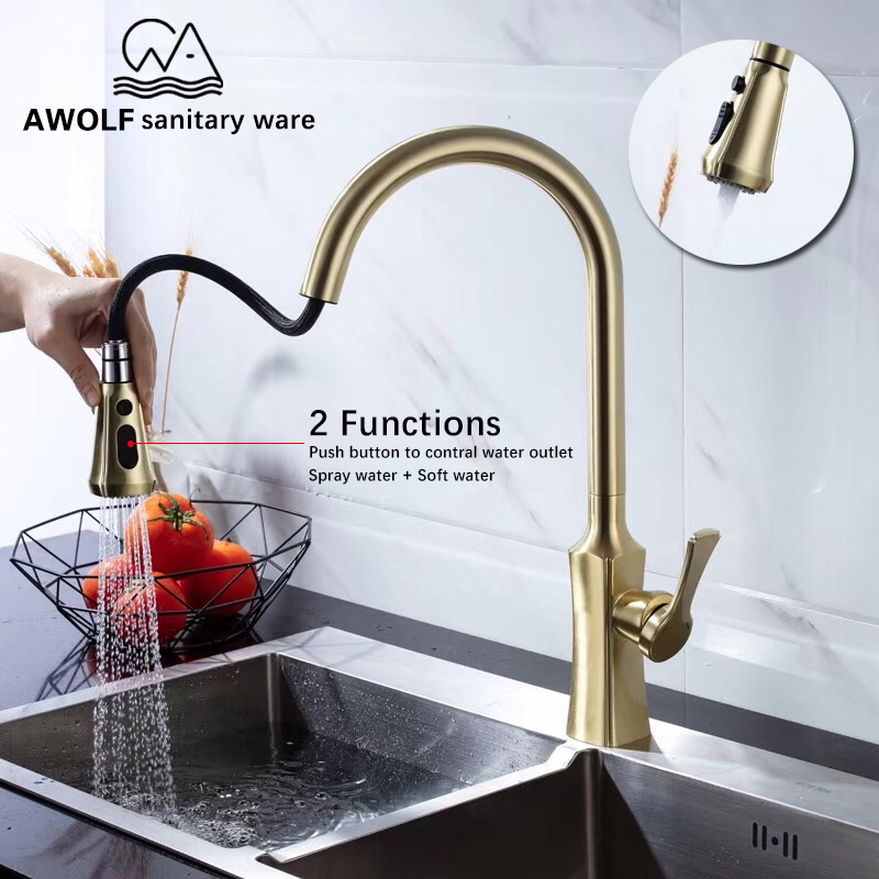 Kitchen Faucet Brushed Gold Pull Out Faucet Solid Brass Kitchen Sink Mixer Tap Deck Mounted Single Handle Hole Hot Cold Ml8043 Buy At The Price Of 105 30 In Aliexpress Com Imall Com
