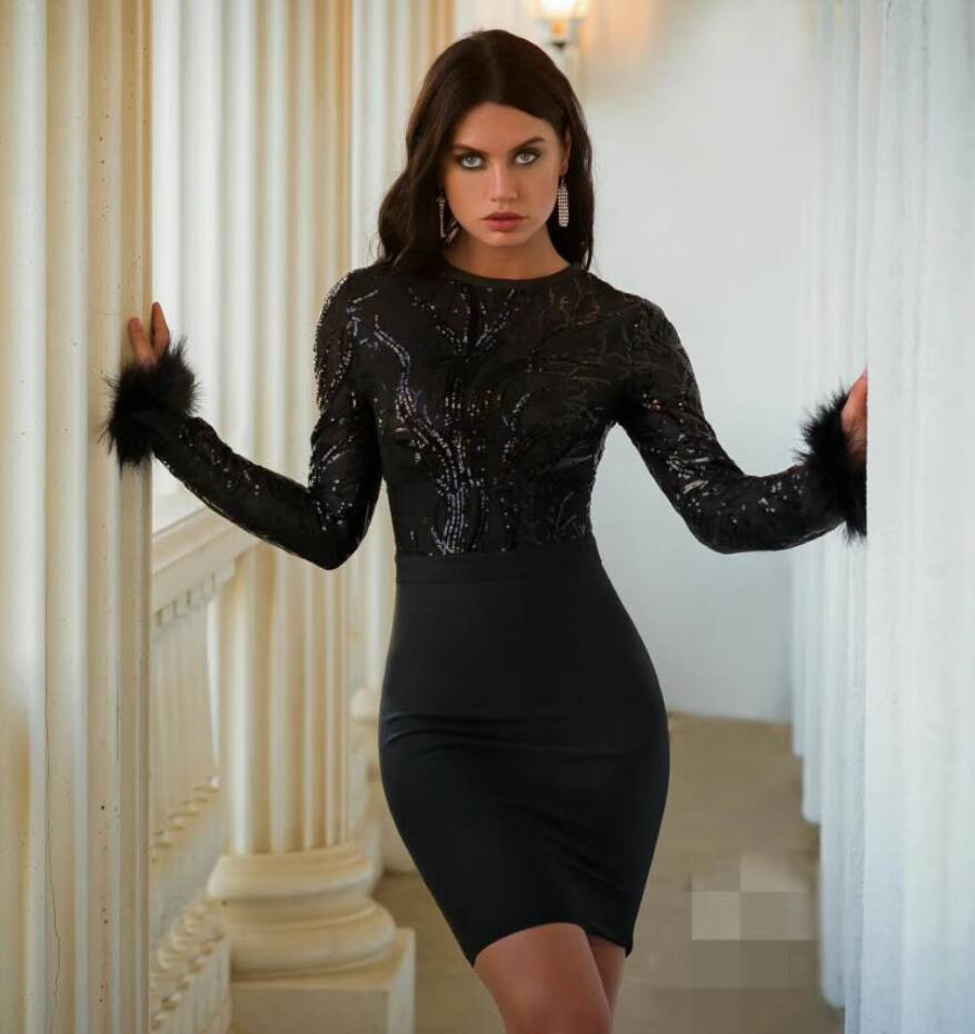 High Quality Black Red White Long Sleeve Feathers Rayon Bandage Dress Fashion Party Bodycon Mini Dress