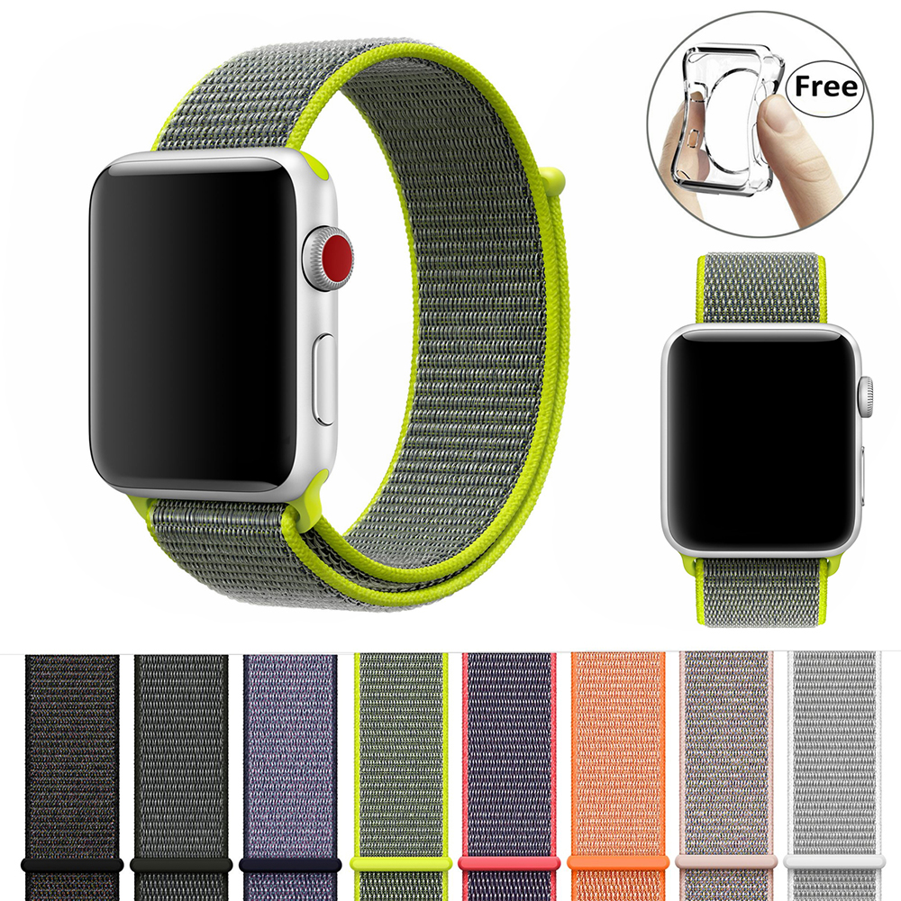 38mm 42mm band for apple watch free case series 1 2 3 woven nylon band strap for iWatch colorful pattern classic buckle