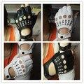 Free shipping  Women rivets PU leather gloves semi-finger mens  rivet belt PU gloves sexy cutout fingerless gloves