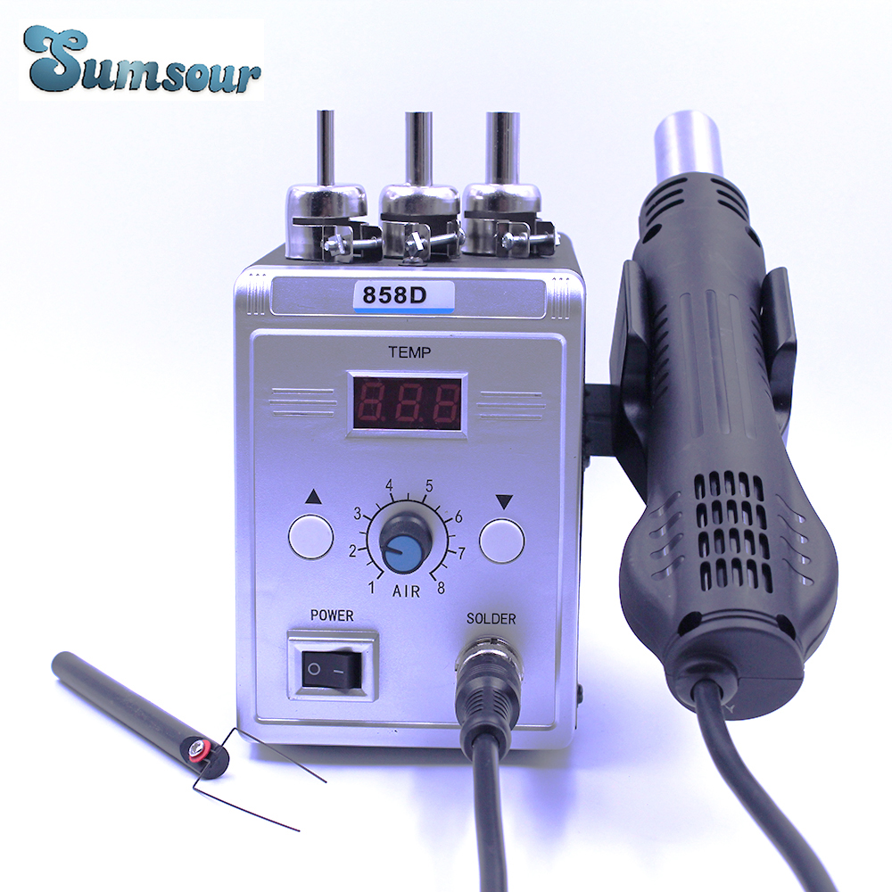 New Hot Air Gun 858D 700W BGA Rework Solder Station Soldering Heat Air Gun Station 220V / 110V For SMD SMT Welding Repair