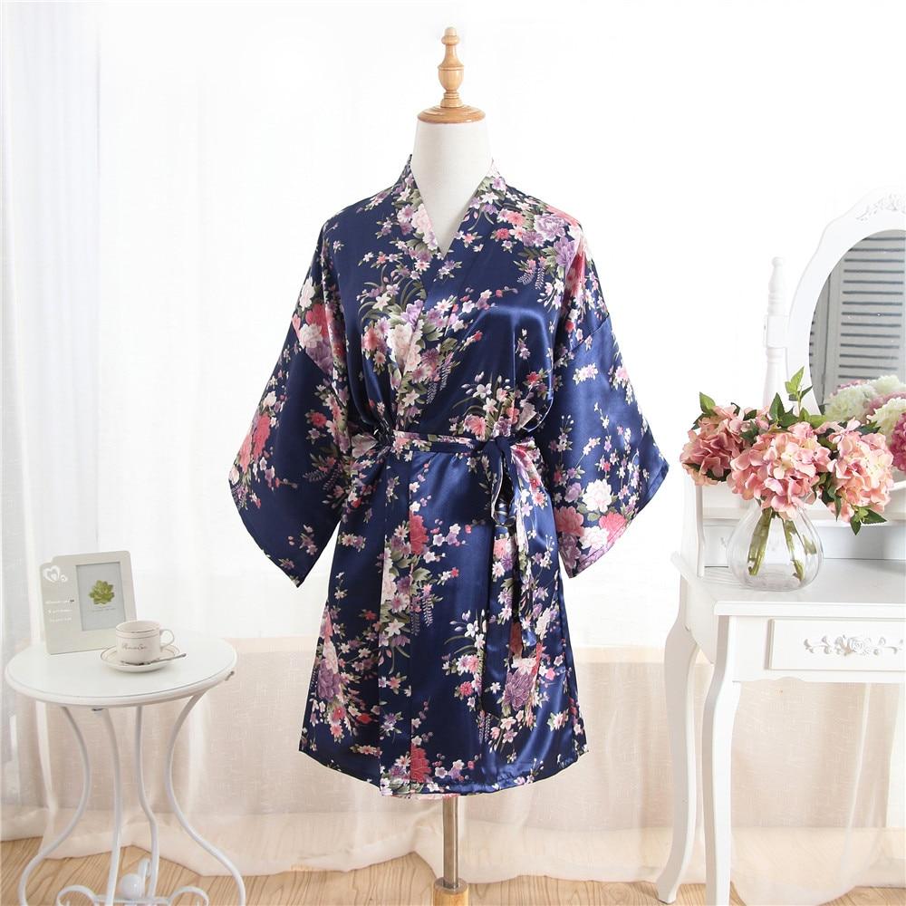 Navy blau Blume ladys Kurze Satin Robe Morgenmantel frauen Freizeit Nachthemd Dessous Mit Gürtel Kimono Bademantel Nachtwäsche