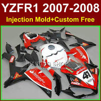 100% Injection for YAMAHA YZFR1 2007 2008 R1Santander 41 red white fairing set YZF1000 07 08 fairings kits YZF R1 YZF1000