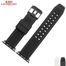 Laopijiang en blanco y negro de Apple seguir banda de Apple reloj deporte deporte correa de caucho de silicona resistente al agua correa de reloj 38 mm