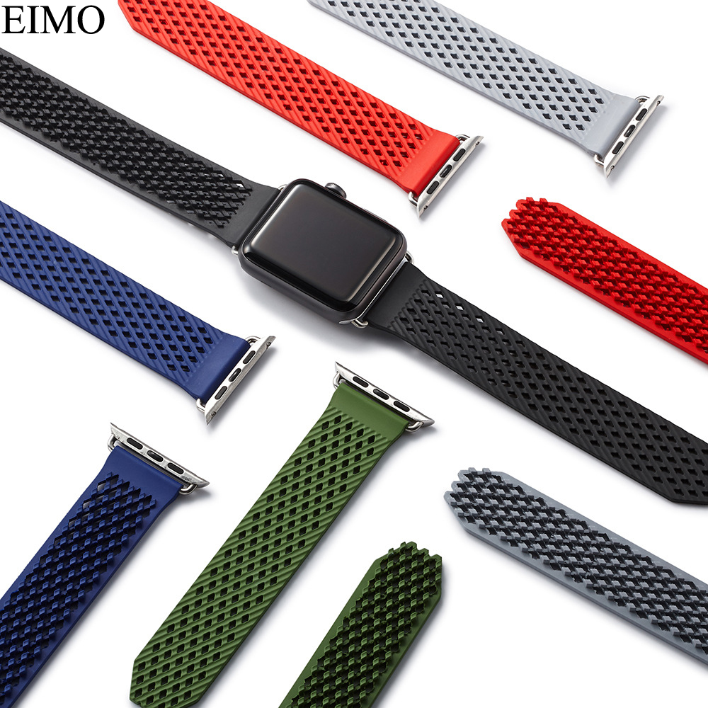 Silicone Sport band For apple watch Strap 4 44mm 40mm iwatch series 4 3 2 1 42mm/38mm Woven Rubbers Wrist Bracelet Accessories 20 colors sport band for apple watch band 44mm 40mm 38mm 42mm replacement watch strap for iwatch bands series 4 3 2 1
