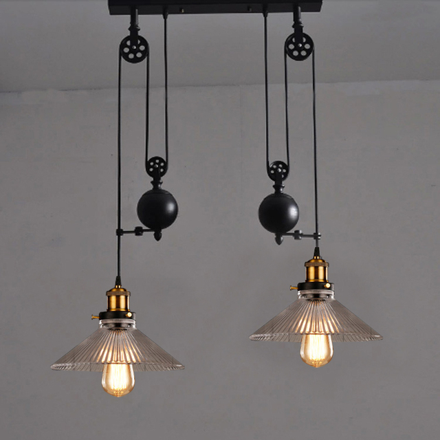 Kitchen Rise Fall Lights Pulley Retro Style Pendant Lamps Black And Lighting Hanging Lamp