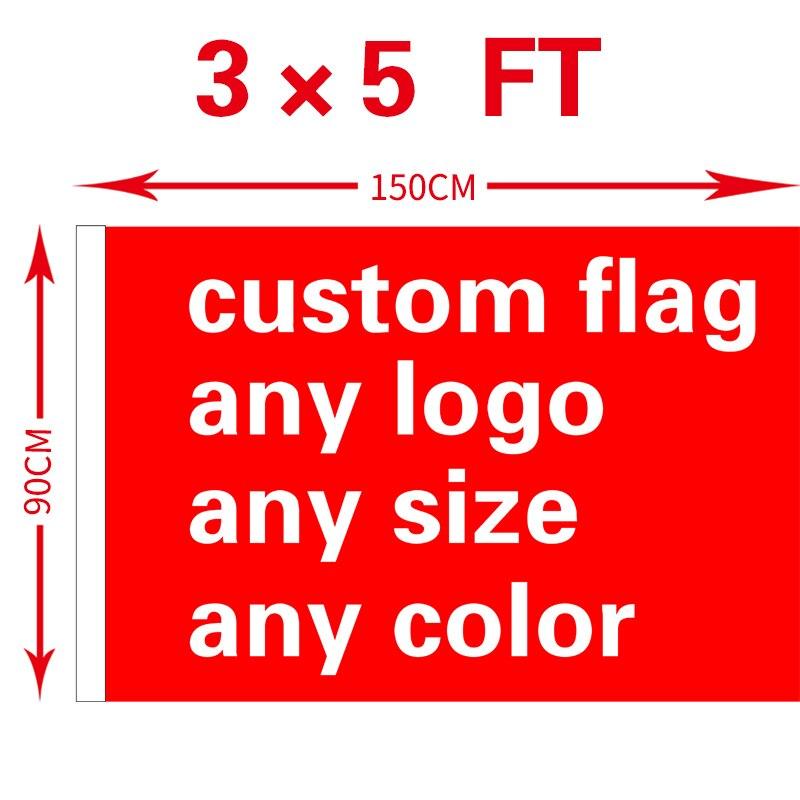 Envío libre xvggdg encargo 3x5FT 100D poliéster todo Logo cualquier Banner Fans deporte banderas personalizadas