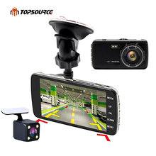 TOPSOURCE 4 pulgadas Mini coche DVR Full 1080 P doble lente retrovisor Cámara soporte frontal coche distancia advertencia dash cámara AIT8328P(China)