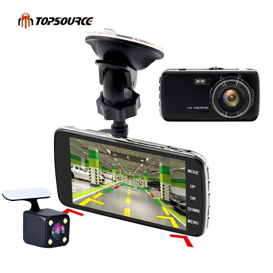TOPSOURCE 4 inch Mini Car DVR Full 1080P Dual Lens Rearview Camera Cam support Front car distance warning dash camera AIT8328P original c6 car black box dual lens full hd 720p motorcycle dvr camera car camera support gps and g sensor