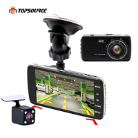 TOPSOURCE 4 inch Mini Car DVR Full 1080P Dual Lens Rearview Camera Cam support Front car distance warning dash camera AIT8328P