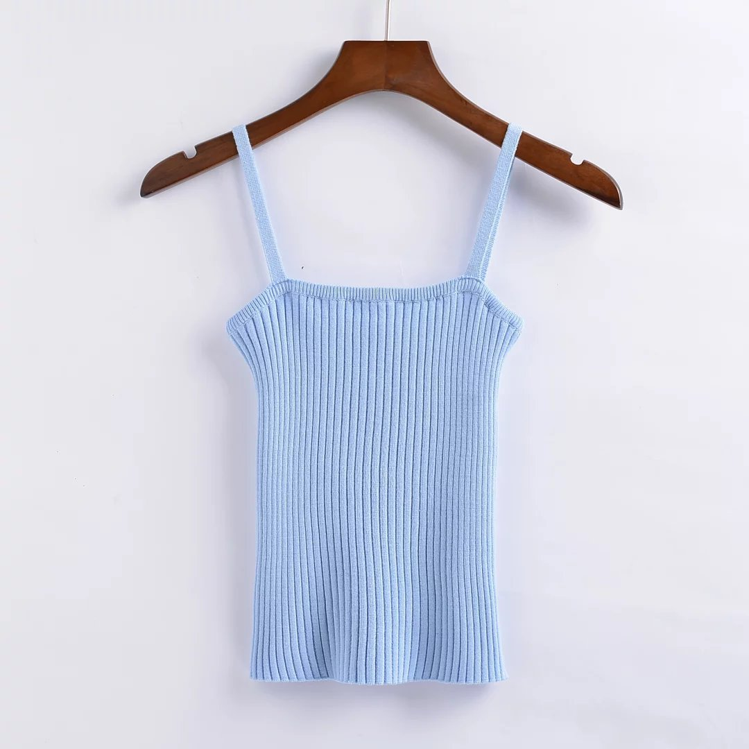 Women\'s Knitted Skinny Ribbed Tank Top Knitting Pattern Simple ...
