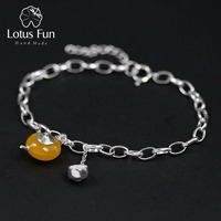 Lotus Fun Real 925 Sterling Silver Bracelet Natural Amber Handmade Fine Jewelry Vintage Cute Teapot Bracelets for Women Bijoux