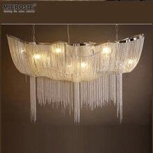 Rectangle Aluminum Chain Chandelier Lighting Vintage Empire Drop Lamp French Hanging Lustre for Living room Restauran