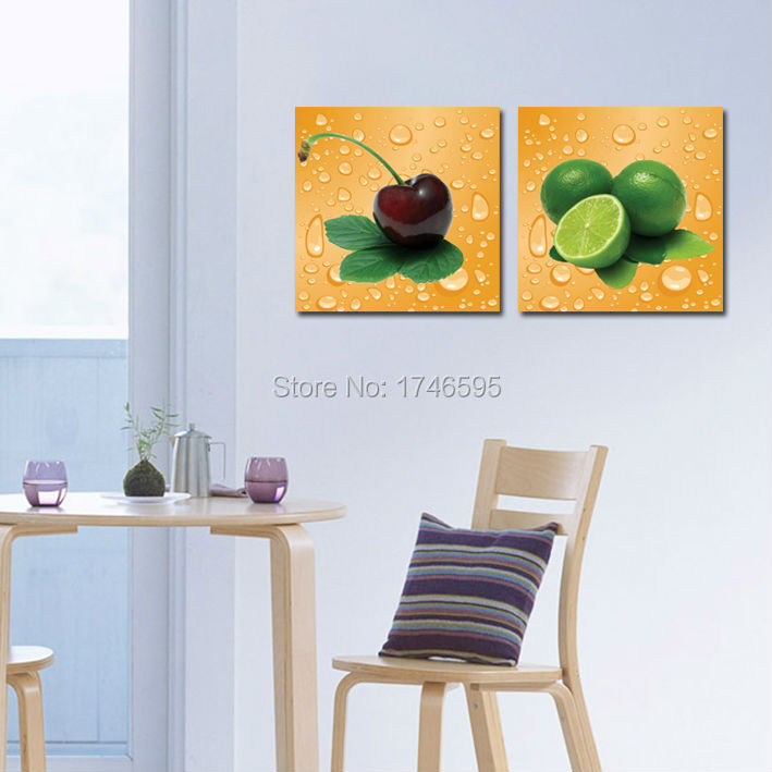 Big Size 3pcs Modern Home Wall Decor Restaurant Dining Room Cherry Lemon Fruit Art Picture Canvas Print Painting