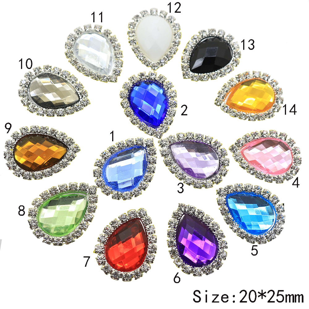 Hot sale10PC 20 25MM Water droplets Acrylic Button shiny Rhinestone Button  very beautiful decorate wedding b77bde217b82