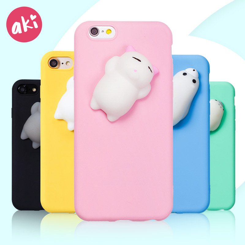 AKI Squishy Phone Case for iPhone X 10 8 7 6 6S Plus Case Finger Pinch 3D Cute Soft Silicone Pappy Cat Seal Polar Bear Kitty