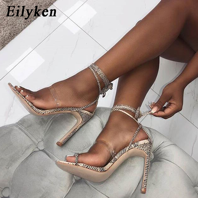 d351ecd4e628d Eilyken 2018 New Lace-Up Leopard grain Women Sandals Sexy Pumps Cross-tied  Party Lady Sandals Thin Heels zapatos mujer 11.5 CM
