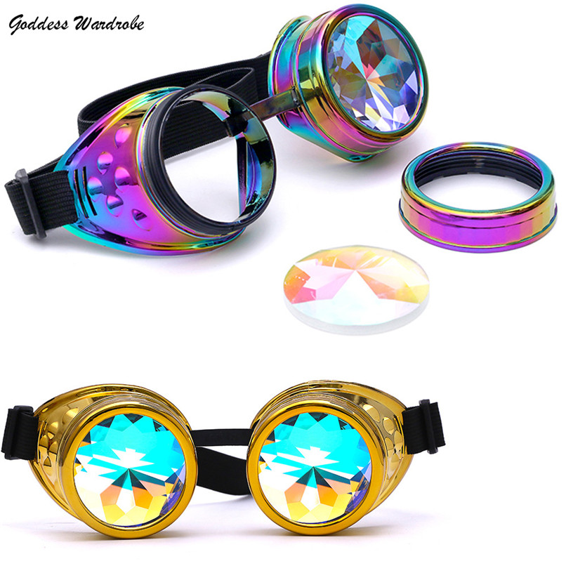 2018 NEW Kaleidoscope Glasses EDM Sunglasses Diffracted Lens Plastic Round Multi Rave Festival Party Free Shipping 4D26#F#