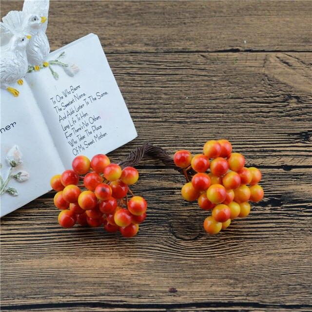 Дешевые 25 шт. 50 глав 0.5 см искусственные ягоды Бакка цветы для Свадебные украшения DIY Скрапбукинг декоративный венок поддельные цветы