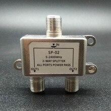 2018 receptor bidirecional da tevê por satélite do conector de 5 2500 mhz do divisor do cabo coaxial de digitas de 2 vias hd projetado para satv/catv