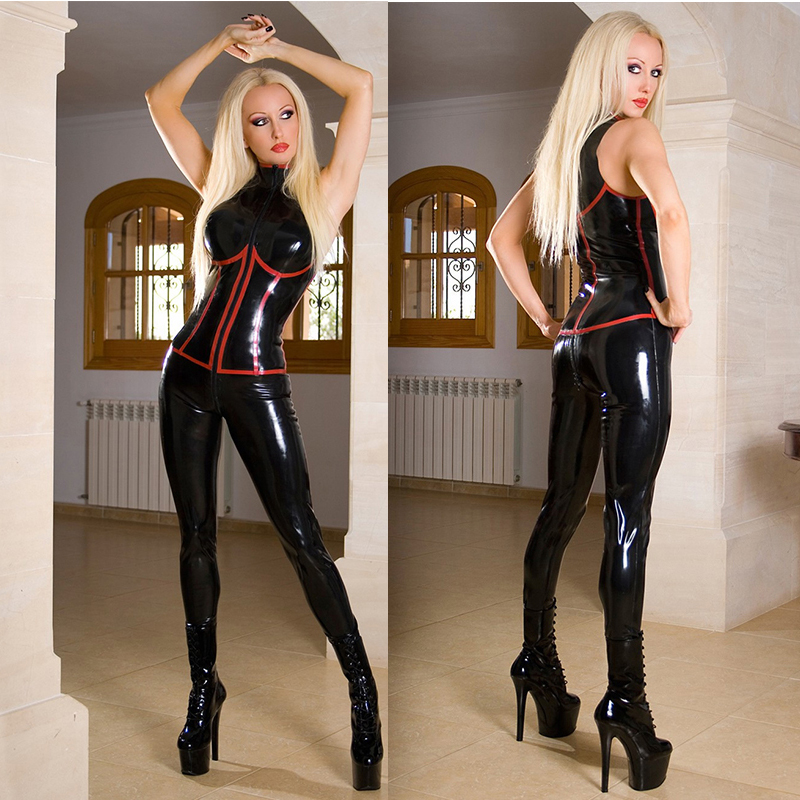 Latex Leather Look Men/'s Black Catsuit Jumpsuit 2 Way Zip to Crotch Sleeveless