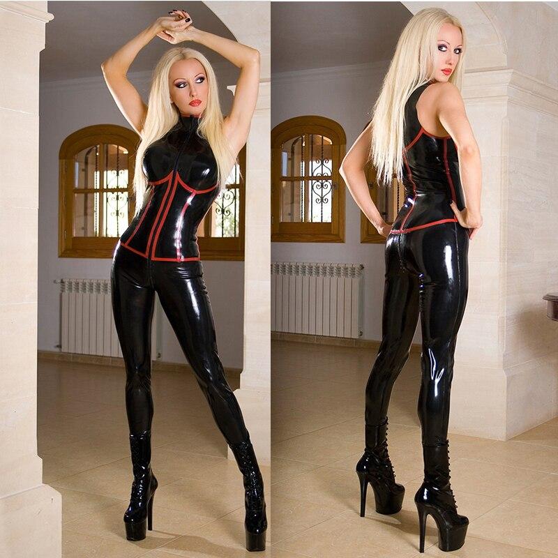 S-5XL haute qualité Sexy sans manches PVC Catsuit noir Faux cuir Latex body entrejambe combinaison à fermeture éclair Costumes jeu uniformes