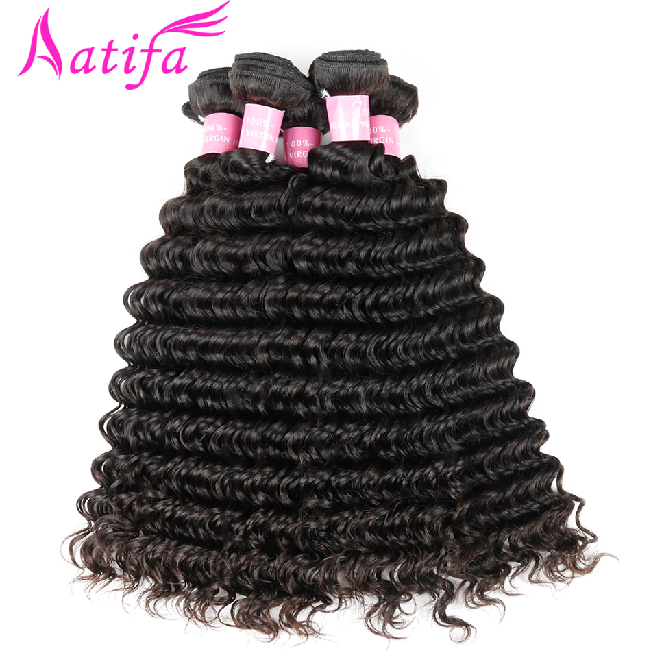 Malaysian Deep Wave Hair 1/3/4 pcs Bundles de tissage de cheveux - Cheveux humains (noir) - Photo 1