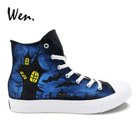 Wen Classic Black Canvas Hand Painted Shoes Custom Design Halloween Castle Bats Trainers Sneakers High Laced Espadrilles Flat