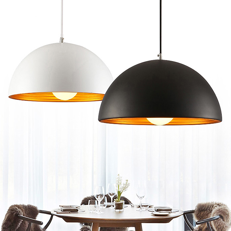 Nordic Black\/White Pendant Light Aluminum Lampshade Lighting Suspension Luminaire E27 110V 220V