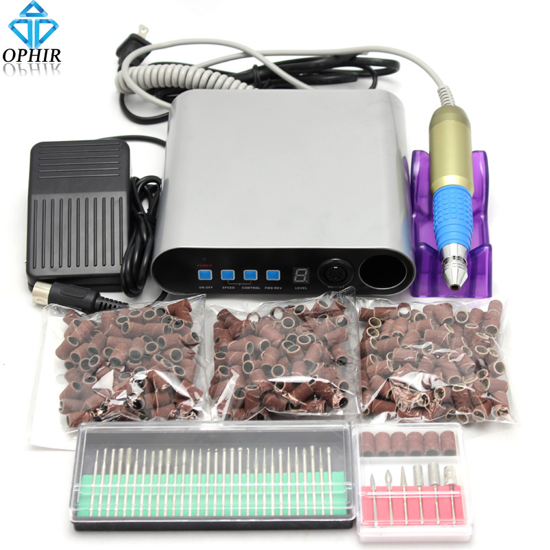 OPHIR Electric Nail Drill Machine Pedicure Manicure Kit Drill Nail Art Equipment 80 120180 Sanding Bands 30 Drill Bits_KD142+ 20000 rpm electric nail drill machine pedicure manicure machine nail art equipment kit sanding bands drill bits set nail tools
